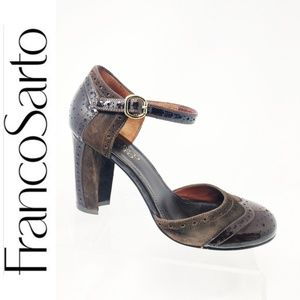 Women's Franco Sarto suede wingtip Brown heels